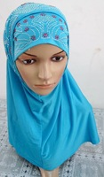 free shipping by DHL two peices beads muslim hijab mix colors ML0106