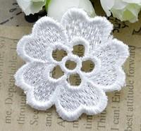 100pcs/lot,4.5cm white flower Embroidery Lace patch motif applique trim headband hair bow garment clothing DIY accessory C102
