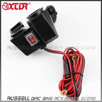 2104 new! 12v Waterproof Socket Motorbike Motorcycle Cigarette Lighter Adaptor 5V USB Power Charger