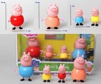 Peppa Pig Toys Family Set 4pcs/set Plastic Pepa/ George Pig Toys Family Baby Kid Toy Birthday Gift Free Shipping