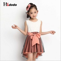 New Summer Autumn Fashion Girls' Clothing Solid Sleeveless Beautiful Korean Wild Cute Slim Korean Girls Bow Dovetail Dress F012