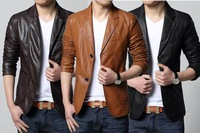 2014 Winter Men's Soft PU Leather Blazer Men's Casual Suit Jackets Man Outerwear Plus Size L-5XL