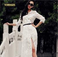 Verragee Autumn Embroidery White Print Sexy Dress Chiffon Long Maxi Dress Party Evening Dress Women Summer Casual Dress 2014