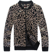 Men's Leopard Dot Patchwork Motorcycle Padded Short Coat For Male Thin&Thick Overcoat Slim Cotton Wadded Jacket