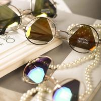 2014 New Fashion   Women Sunglasses Colorful Reflective Hollow Mirror Lens Round Metal Frame Eyewear