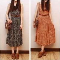 2014 summer dress Retro floral chiffon dress Slim vest dress sleeveless pleated dress with belt