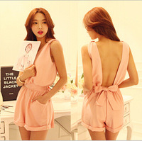 New Arrive 2014 Summer Fashion Women Sexy Backless V-Neck BOW Lacing Shorts Strap Jumpsuit In Black/Pink/White