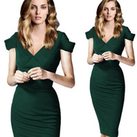 Dropshipping New Fashion Women Elegant V-Neck Back Zipper Stretchy Bodycon Wear to Work Career Knee-Length Party Dress S-XL
