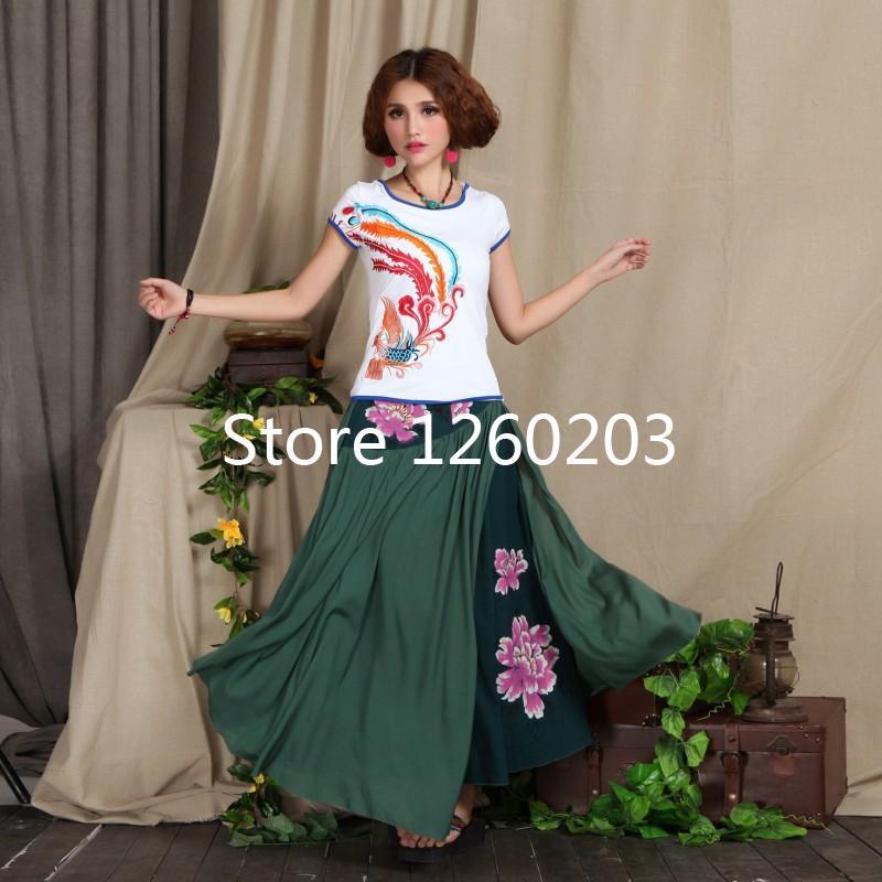 Do tipo de saia longas saias femininas faldas vestuário mulheres sexy para menina nacional 0115(China (Mainland))
