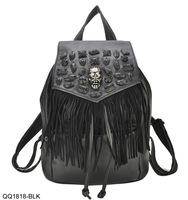 VEEVAN 2014 skull punk  leather women backpack tassel vintage backpack women travel bag school bags children backpack Satchel