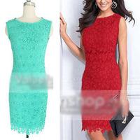 Women Summer Dress 2014 New Elegant Womens Celeb Lace Crochet Party dresses Bodycon Stretch OL Office Work Wear Evening Dress