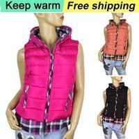 2014 winter new lady fake two cotton shirt-style cotton vest  women Female fashion plaid jacket vest Free Shipping 665