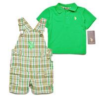 Brand U.S POLO ASSN Baby boy's 2-piece green cotton polo shirt & Suspender shorts Set 32$