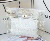 Free shoping 2014 spring and summer fashion handbag vintage lockbutton transparent pvc bag women's handbag bag