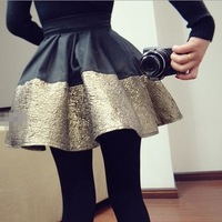Lacegirl's  women new 2014 fashion saia  pu gold stitching Casual zipper high waist ball gown Tutu A-line skirt  female