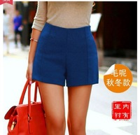 Free Shipping 2014 new winter women's fashion high waist candy color thickening woolen shorts suit blazer short pants warm short