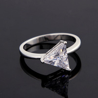 Fashion Triangle shape ring jewelry,plating Luxurious AAA high-grade zircon ring party gift for women