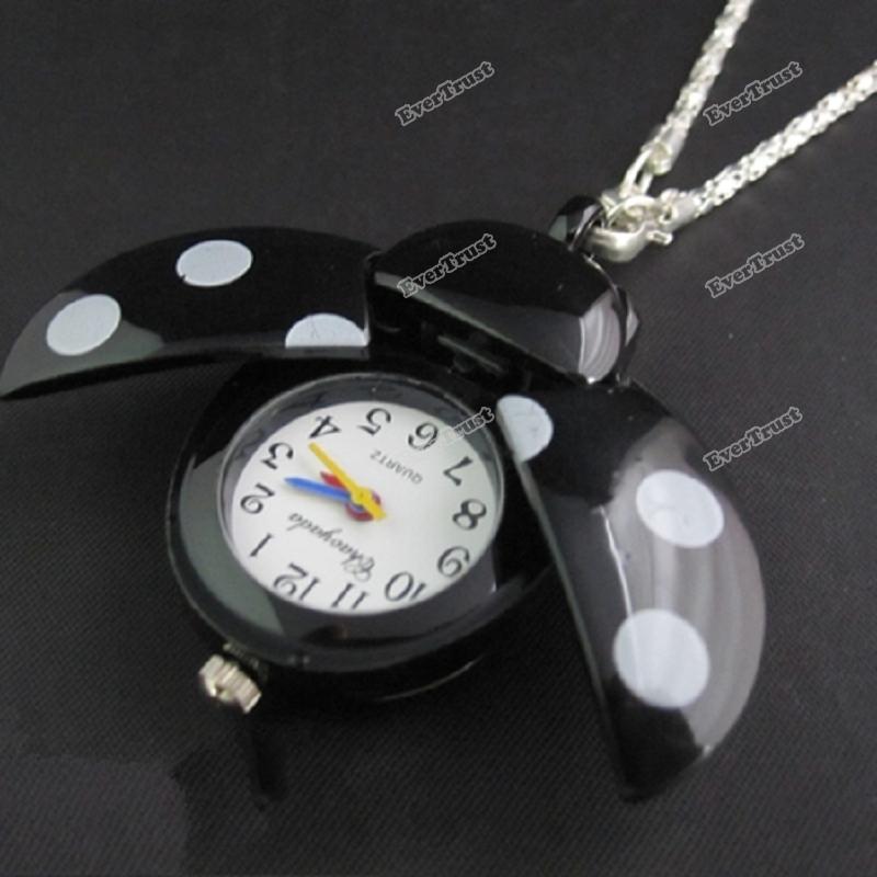 Lianalove Women Lady Girls bug Beads Wing Open Quartz Chain Necklace Pocket Watch[Purple] [Save up to 50%](China (Mainland))