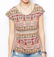 ST2007 New Fashion Ladies' Elegant floral print T shirt sleeveless Vintage geometric Shirt casual slim brand designer tops