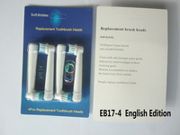 4000pcs/lot Free Shipping SB-17A EB17-4 Electric Toothbrush Heads 4 Soft Bristle English Edition (1pack=4pcs) T15