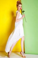 Silk Crepe Dress-1757/Fashion Women Party Dresses/2014 Summer New Desigual Bohemian Long White Dress/S,M,L