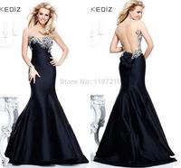 Black Evening Dress 2015 Tarik Ediz Celebrity Prom Dresses Sweetheart Crystal Sheer Back Bow Long Pageant Gowns Free Shipping