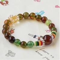 Peacock Dragon agate bracelet beads 8mm colorful natural stones bracelets 2014 new lucky women bracelet men jewelry 0234