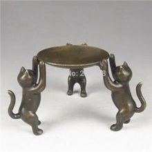 natal decoração frete grátis decoração de casa placa de bronze chinês três gatos apoio castiçais antigos(China (Mainland))