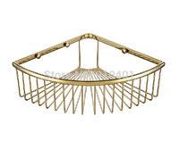 Free Shipping Wholesale And Retail Promotion Modern Polished Golden Finish Brass Bathroom Caddy Storage Holder Corner Shelf