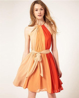 2014 New Arrival Summer women  Pleated Chiffon Mixed colors Hit color Strapless Retro Halter Dress With Belt
