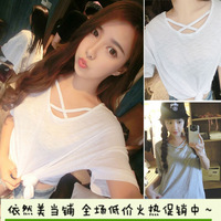2014 Summer Women wild new Korean compact crossover collar solid color loose T-shirt  blouse top