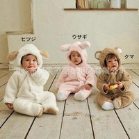 2014 new fashion  Animal bear shaped baby winter rompers baby boy girl thicker rompers baby clothing for winter