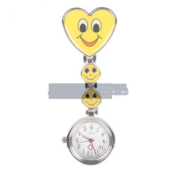 Hot Sale Nurse Round Quartz Wristwatch Timepiece with Heart Shape Cute Face Yellow Free Shipping(China (Mainland))