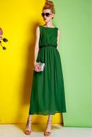 Silk Crepe Dress-1741/Fashion Women Party Dresses/2014 Summer New Desigual Vintage Long Dress/S,M,L,XL