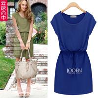 2014 elastic waist chiffon dress one-piece dress fashion medium skirt a-line skirt