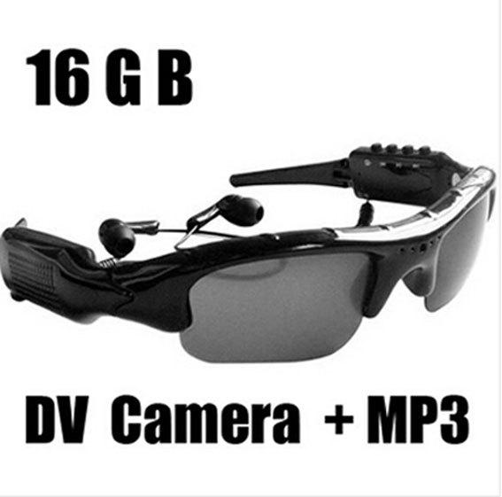 Mini DV DVR 16GB Sunglasses Camera +MP3 Music player spy Hidden Pinhole Cam Video Recorder Sun glasses(China (Mainland))