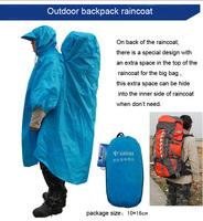 2014 free shipping outdoor backpack rainwear raincoat men's women's climbing traveling raincoat poncho
