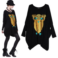 Free Shipping Hot-selling fashion Loose knitted T-shirt with owl print