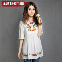 National trend women's 2014 women's spring chinese style embroidered small stand collar short-sleeve shirt loose shirt