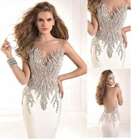 2014 HOT!!! Sexy Top Quality Mermaid Beaded Crystal Elegant Long White Sheer Prom Dresses Evening Dresses Gowns