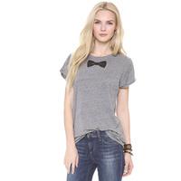 2014 summer new fashion print bow tie collar playful female gray short-sleeved T-shirt haoduoyi