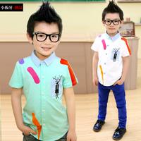 Small die 2014 summer children's clothing child baby male child big boy short-sleeve shirt 7155