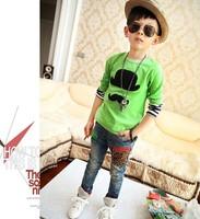 Free shipping 2014 new children render unlined upper garment Bearded boys long sleeve blouse T-shirts hot sale