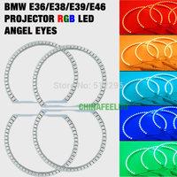 5Set New E36 E38 E39 5050 45SMD RGB Flash SMD LED ANGEL EYES HALO RINGS kit for BMW #4242