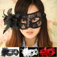 Dance party mask transparent lace mask belt lily flower mask 25g