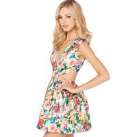 2014 summer new fashion colorful flower print brilliant waist deep V cut back zipper dress haoduoyi empty
