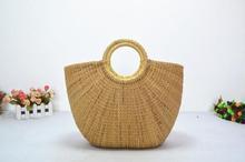 palha natural saco, mulheres verão arco tassl palha praia grande cesta tote bag bolsa, shippig livre(China (Mainland))