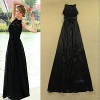 2014 European and American big catwalk models temperament Slim Sexy Lace Halter evening dress skirt dress