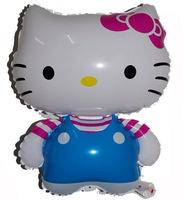 60*45cm 10pcs/lot hello kitty with red stripe&blue bib pants balloon hello kitty birthday party supplies hello kitty party favor