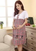 2014 maternity dress short sleeve fashion cotton summer clothes for pregnant women Casual Pregnancy Clothes Knee-length dress